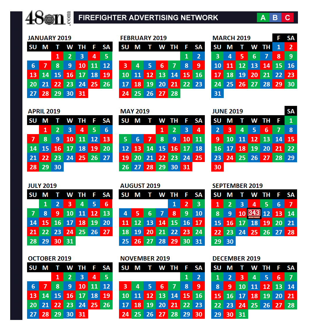 48on 2019 Firefighter Shift Calendar